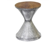 LivingStyles Alaric Teak Timber Top Aluminium Hourglass Stool / Side Table