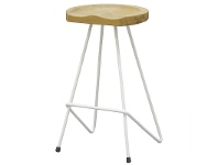LivingStyles Alicio Teak Timber and Steel Saddle Bar Stool - White