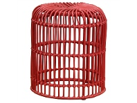 LivingStyles Rosaline Hand Woven Rattan Cage Stool - Red