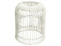 LivingStyles Rosaline Hand Woven Rattan Cage Stool, White