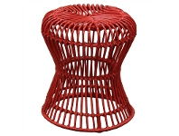 LivingStyles Rosaline Hand Woven Rattan Hourglass Stool, Red