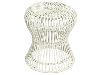 LivingStyles Rosaline Hand Woven Rattan Hourglass Stool - White