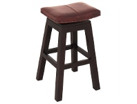 LivingStyles Hereford Solid Mahogany Timber Swivel Bar Stool with Leather Seat, Chocolate