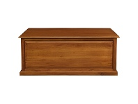 LivingStyles Tasmania Mahogany Timber Blanket Box, Large, Light Pecan