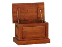 LivingStyles Set of 2 Tasmania Mahogany Timber Blanket Boxes, Small, Light Pecan