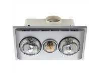 LivingStyles Uniglow Bathroom Heater with Exhaust and LED Light, Silver