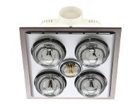 LivingStyles Lava Quattro Bathroom Heater with Exhaust & LED Light, Silver