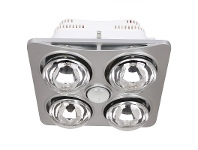 Ardene Quattro Bathroom Heater with Exhaust and Light, Silver
