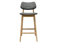 LivingStyles Sue Wooden Counter Stool with PU Seat, Natural / Black
