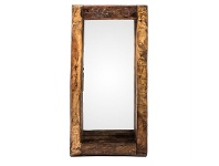 LivingStyles 50cm Recycled Wood Oil Pot Wall Mirror