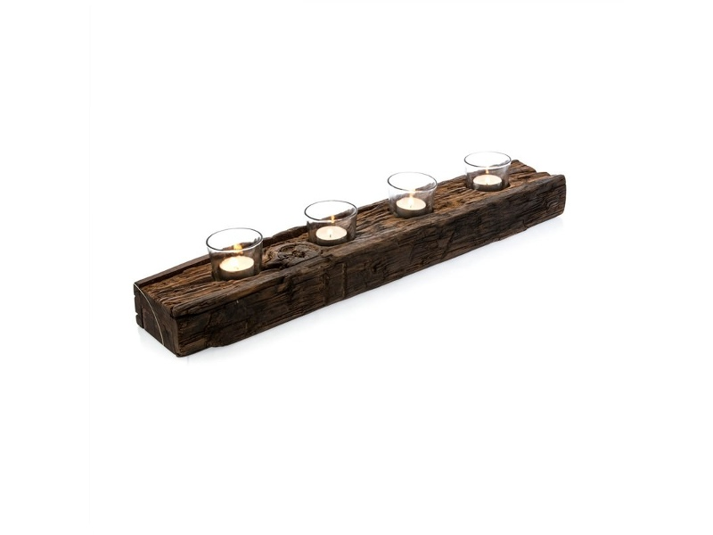 Aligarh Recycled Wood Candle Holder with Glass