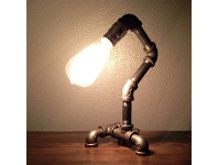 LivingStyles Industrial Iron Pipe Table Lamp