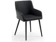 LivingStyles Tryon PU Leather Dining Armchairs, Black