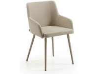 LivingStyles Tryon PU Leather Dining Armchairs, Pearl