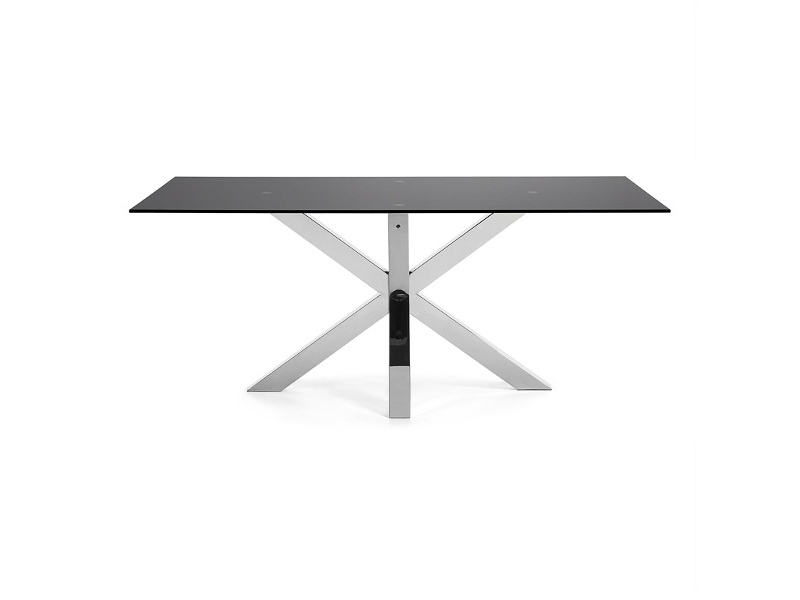 Bromley Tempered Glass & Stainless Steel Dining Table, 180cm, Black / Sliver
