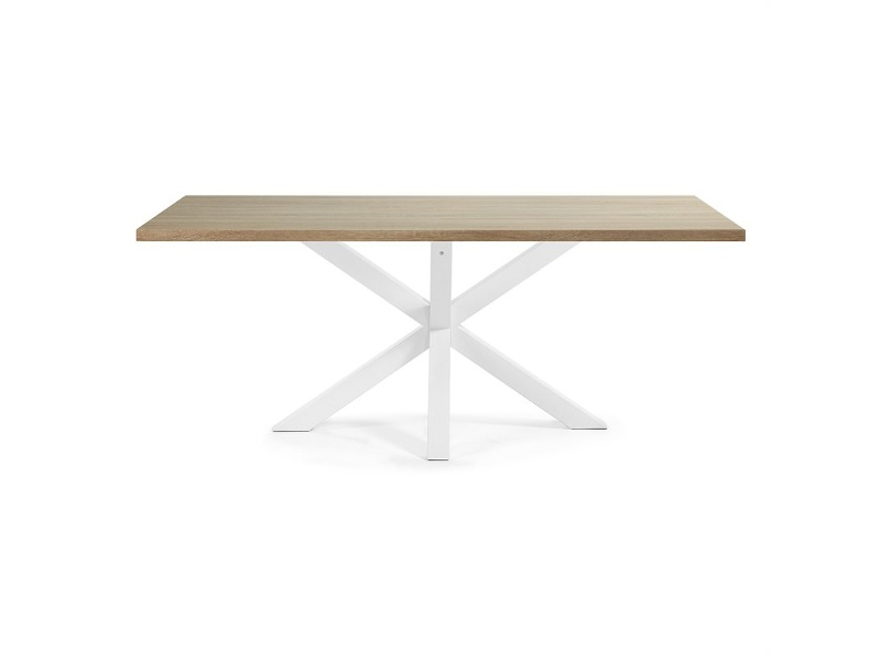 Bromley Engineered Wood & Epoxy Steel Dining Table, 200cm, Natural / White