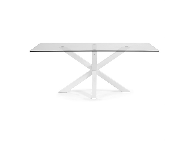 Bromley Tempered Glass & Epoxy Steel Dining Table, 180cm, Clear / White
