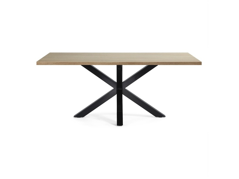 Bromley Engineered Wood & Epoxy Steel Dining Table, 200cm, Natural / Black