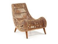 LivingStyles Macon Solid Cane Rattan Accent Lounge Chair