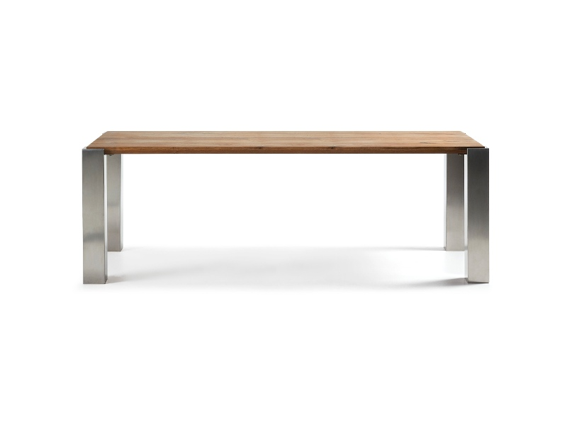 Trent Oak Timber & Stainless Steel Dining Table, 220cm