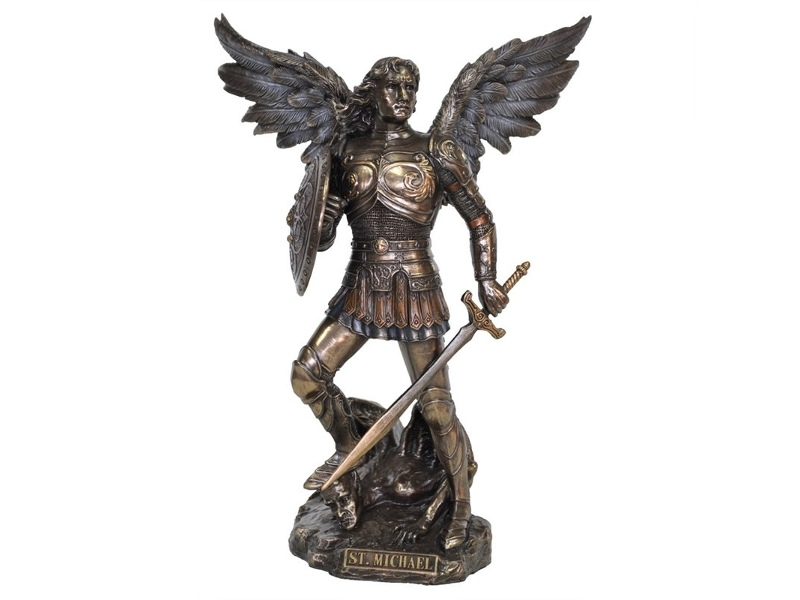 Veronese Cold Cast Bronze Coated Angel Figurine, St Michael the Archangel, Small