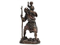 LivingStyles Veronese Cold Cast Bronze Coated Figurine, St. Christopher