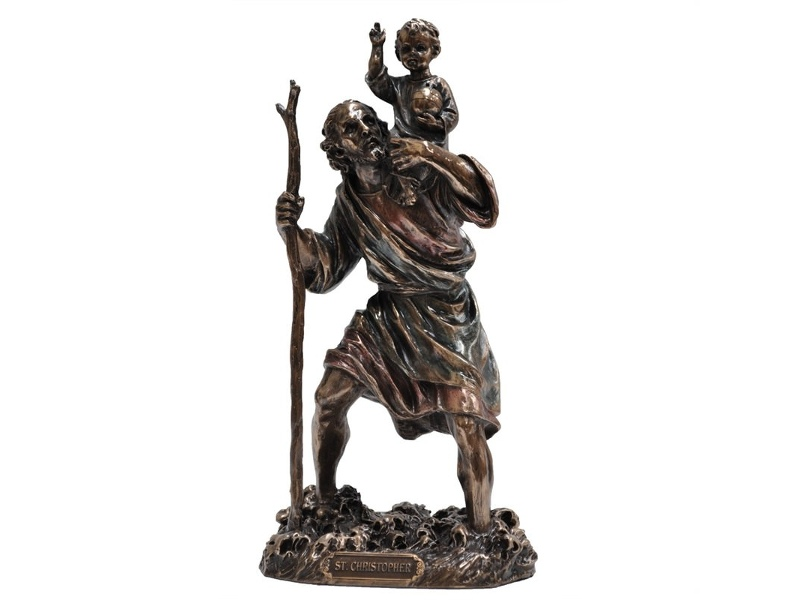 Veronese Cold Cast Bronze Coated Figurine, St. Christopher