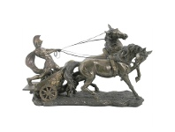LivingStyles Veronese Cold Cast Bronze Coated Roman Chariot Statue, Large