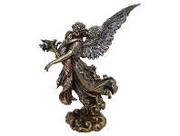 LivingStyles Veronese Cold Cast Bronze Coated Figurine, Guardian Angel with Infant