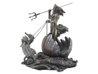 LivingStyles Veronese Cold Cast Bronze Coated Greek Mythology Figurine, Poseidon Riding Sea Chariot
