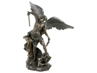LivingStyles Veronese Cold Cast Bronze Coated Statue of Guido Reni's St Michael Archangel, Medium