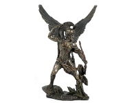 LivingStyles Veronese Cold Cast Bronze Coated Angel Figurine, Uriel