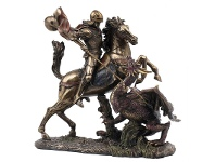 LivingStyles Veronese Cold Cast Bronze Coated Figurine, Saint George Slaying the Dragon