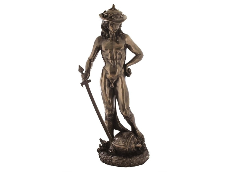 Veronese Cold Cast Bronze Coated Statue of David by Donatello, Large