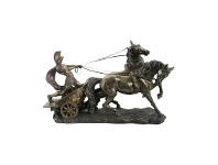 LivingStyles Veronese Cold Cast Bronze Coated Roman Chariot Statue, Small