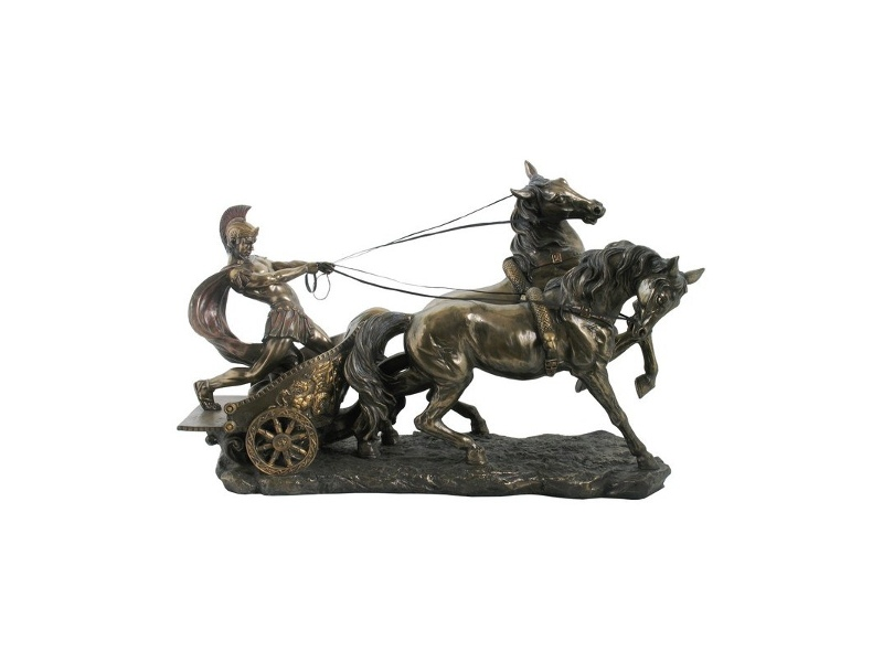 Veronese Cold Cast Bronze Coated Roman Chariot Statue, Small