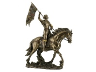 LivingStyles Veronese Cold Cast Bronze Coated Figurine, St. Joan of Arc