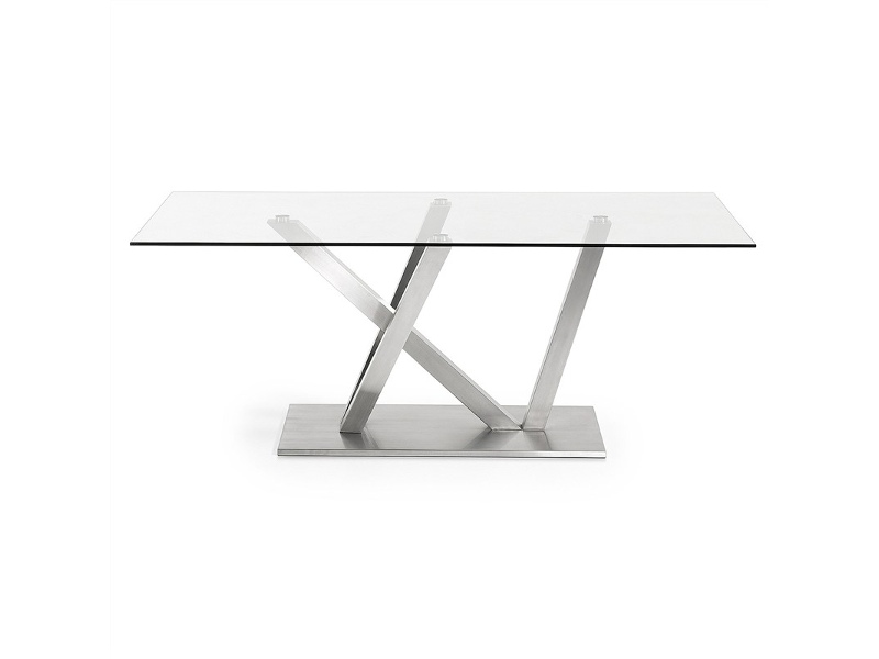 Uzi Tempered Glass & Stainless Steel Dining Table, 200cm, Clear / Silver
