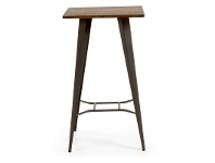 LivingStyles Frazier Steel Indoor/Outdoor Square Bar Table with Bamboo Top, 60cm, Anthracite