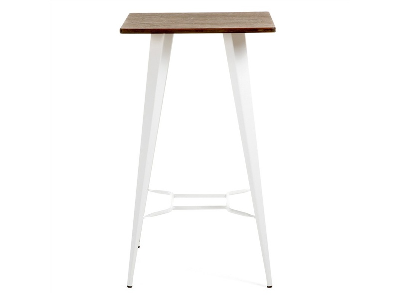 Frazier Steel Indoor/Outdoor Square Bar Table with Bamboo Top, 60cm, White