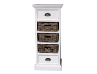 LivingStyles Halifax Solid Mahogany Timber 3 Rattan Baskets Storage Unit