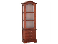 LivingStyles Corbett Solid Mahogany Timber Single Door 3 Drawer Display Cabinet - Mahogany