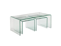 LivingStyles Arcadia 3 Piece Bent Glass Nested Coffee Table Set