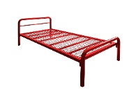 LivingStyles Tubeco Budget Australian Made Commercial Grade Metal Bed, Single, Red