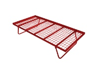 LivingStyles Tubeco Australian Made Commercial Grade Metal Pop-up Trundle Bed, Single, Red