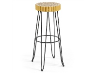 LivingStyles Evans Timber Seat Metal Counter Stool, Gold/Black