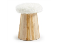 LivingStyles Calca Synthetic Fur & Timber Stool