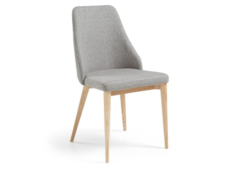 Roxy Fabric Dining Chair, Light Grey / Natural