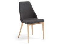 LivingStyles Roxy Fabric Dining Chair, Dark Grey / Natural