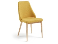 LivingStyles Roxy Fabric Dining Chair, Mustard / Natural
